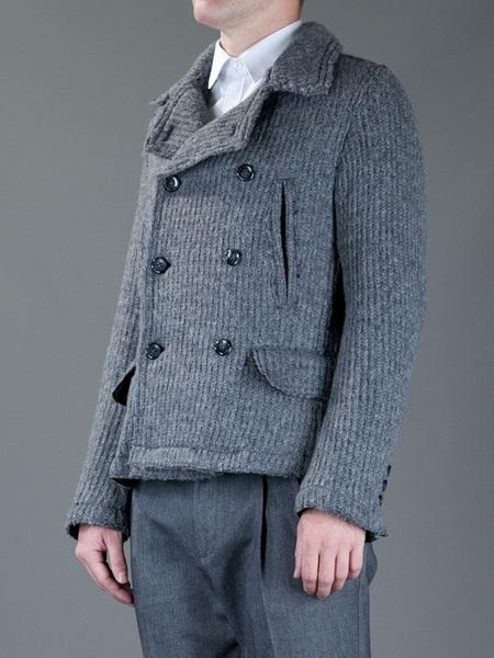 Dolce & Gabbana Gri Örme Yün Erkek Kabanı (ön görünüm)
