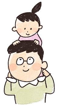 肩車のイラスト「お父さんと娘」線画