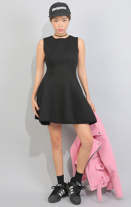 Back Zip Sleeveless Flared Dress