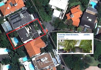Outra mansão de Paulo Skaf, no bairro nobre do Morumbi. (foto aérea do Google Maps).  As duas mansões pagarão menos IPTU em 2014, para moradores de casas populares pagarem mais.  Graças a decisão do ministro Joaquim Barbosa do STF