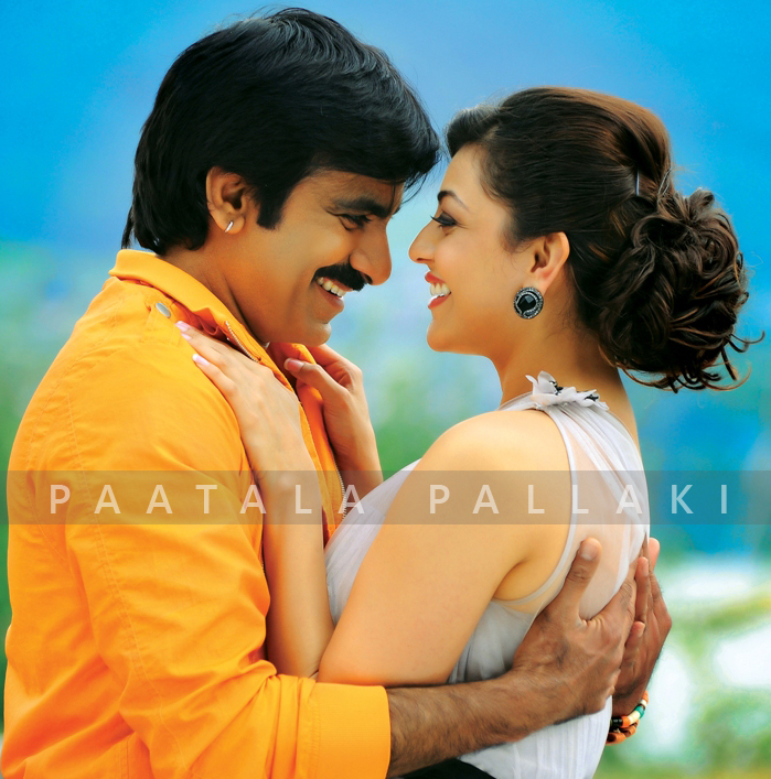 Ravi Teja and Kajal Aggarwal in a still from the Telugu movie Sarocharu