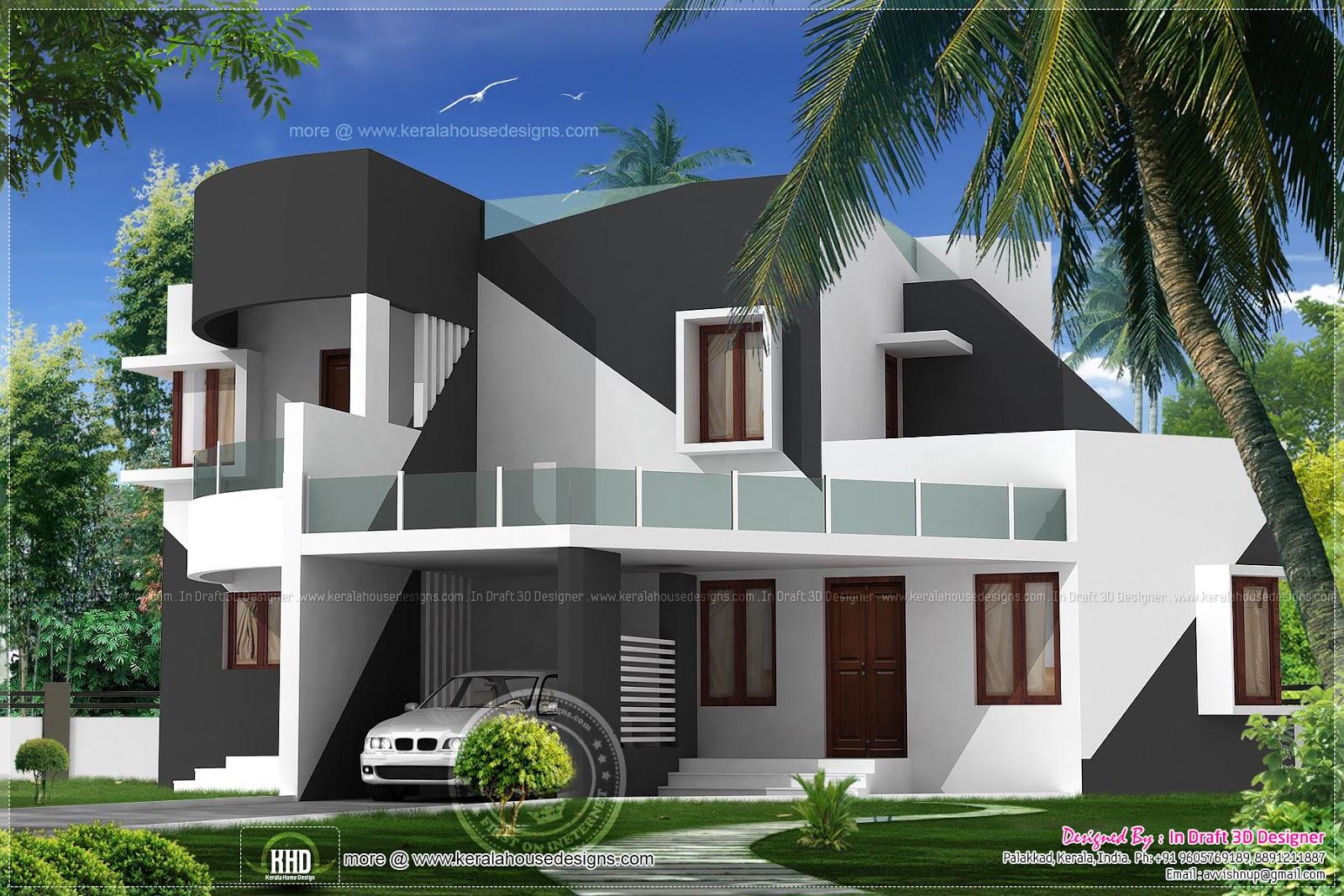 3 Bed Room 39 Black White 39 Contemporary Villa Kerala