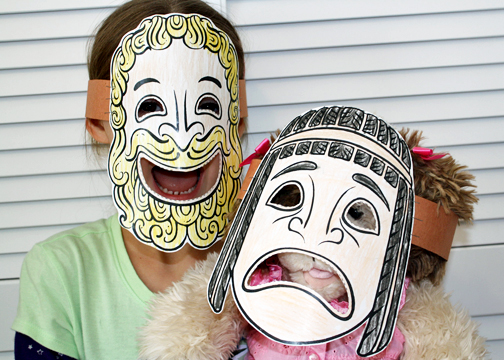 ancient greek mask template - blue house school homeschooling one sweet girl april 2013