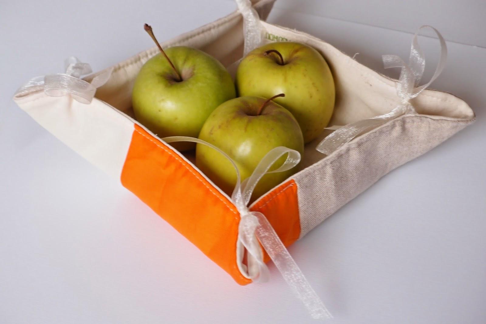 fabric bread basket - orange splash on linen