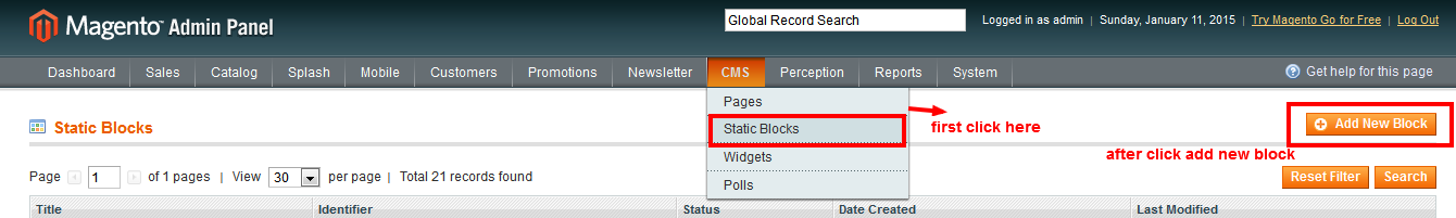 static magento block