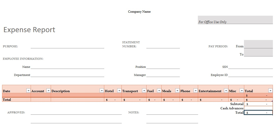 travel expense template