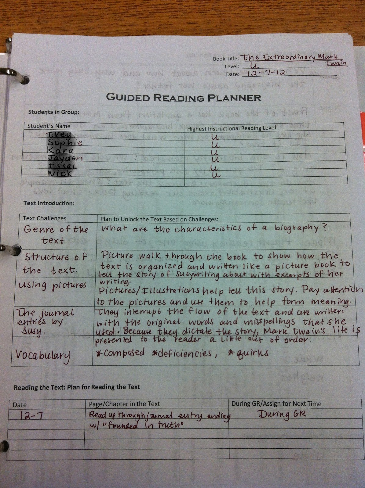Sample Guided Reading Lesson Plan Template - Design Templates