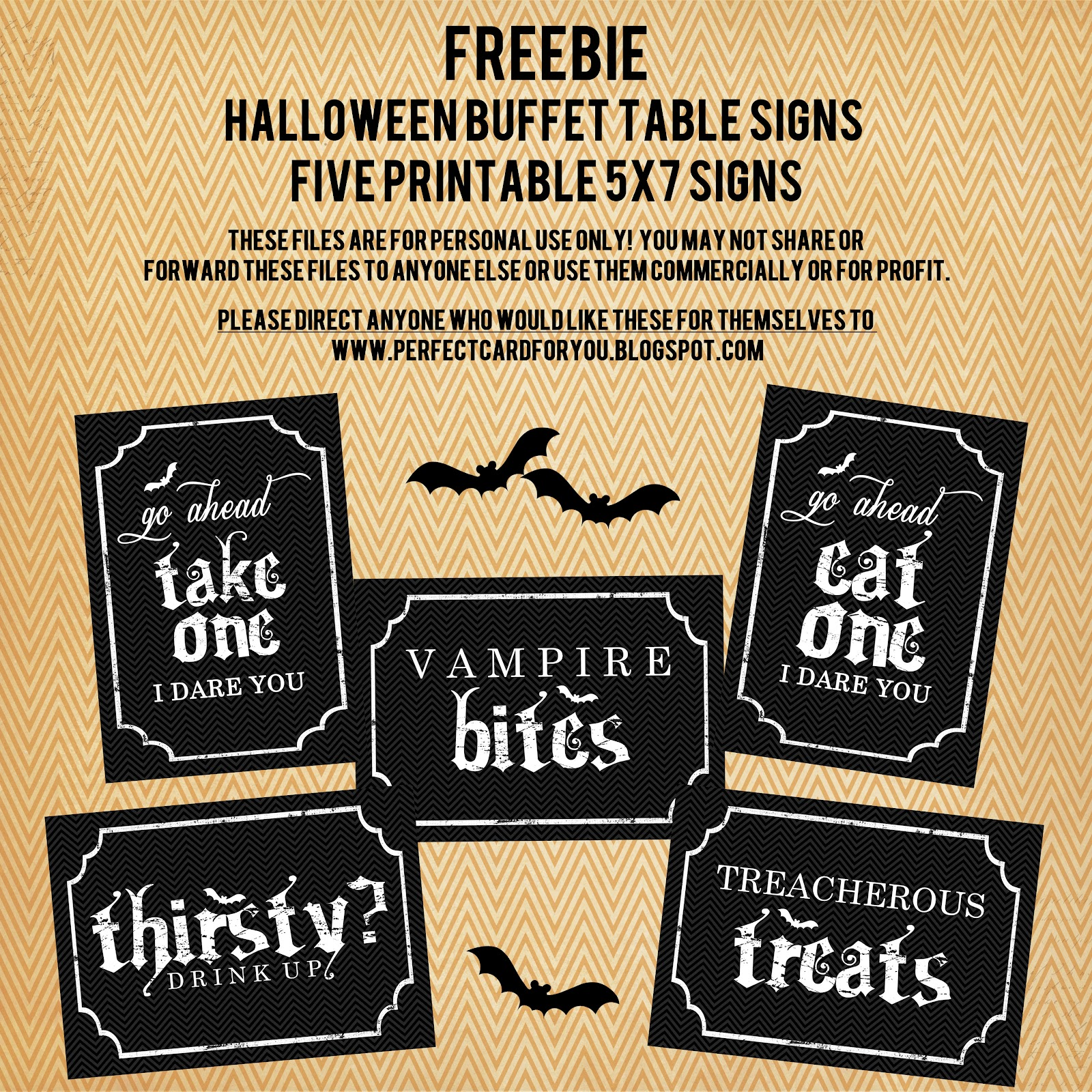 Halloween buffet table - The Perfect Card Freebie Printable Halloween Buffet Table Signs