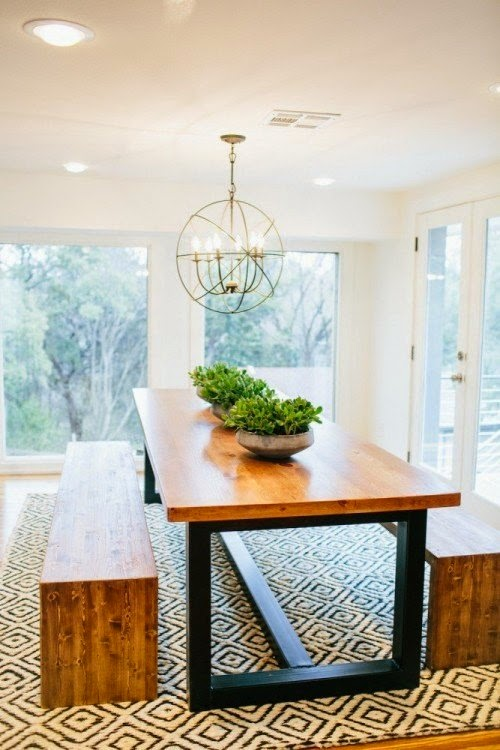 Loved This Rug They Used In The Dining Area It Is A Simple Black And White Graphic Pattern That Adds Lot Of Punch To Neutral E