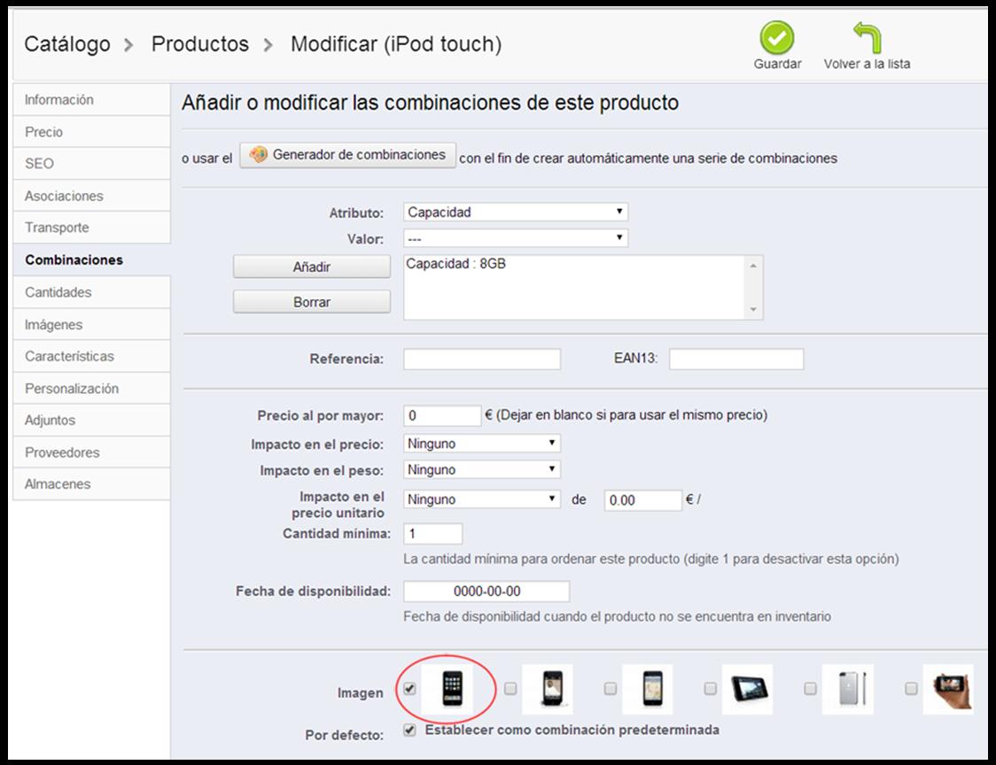 Modificación de producto en Prestashop