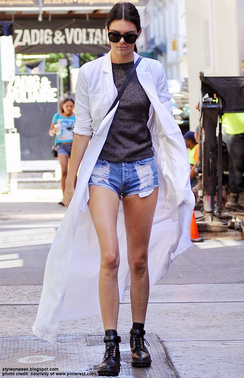 Celebrity Street Style - Kendall Jenner Showing Off Her Long Legs in a Pair of Tiny Hotpants
