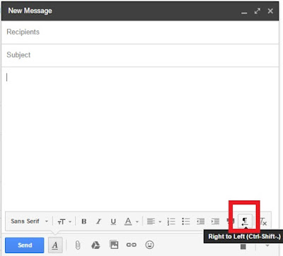 enable right to left in gmail