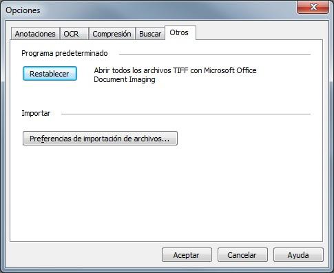 Microsoft Office Document Imaging: Pestaña OTROS