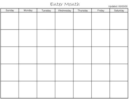 blank calendar 2013 | Calendario 2015 para imprimir