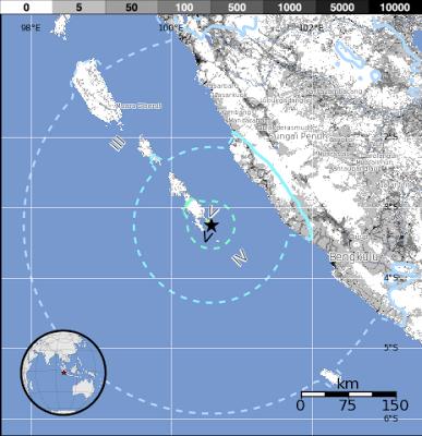 terremoto de 6.1 grados golpeó extremo sur de la Islas Mentawai, Indonesia el 05 de julio 2013 a las 05:05 UTC