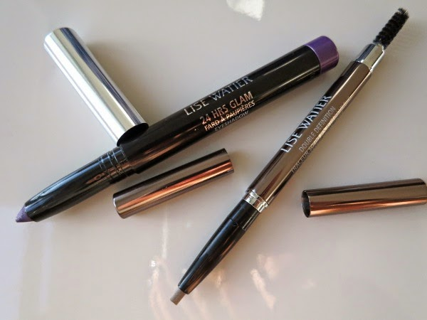 Lise Watier 24 HRS Glam Eyeshadow crayon in 'Disco Glam' and Double Definition Brow Liner in 'Châtain'