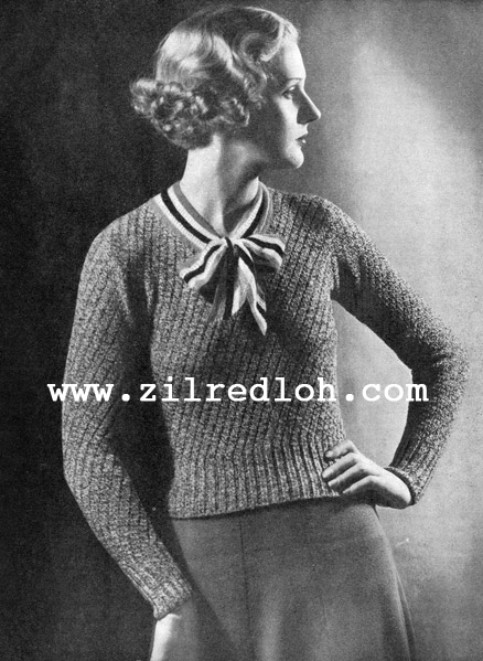 1930's Knitting -  A Slant on Autumn Chic free pattern