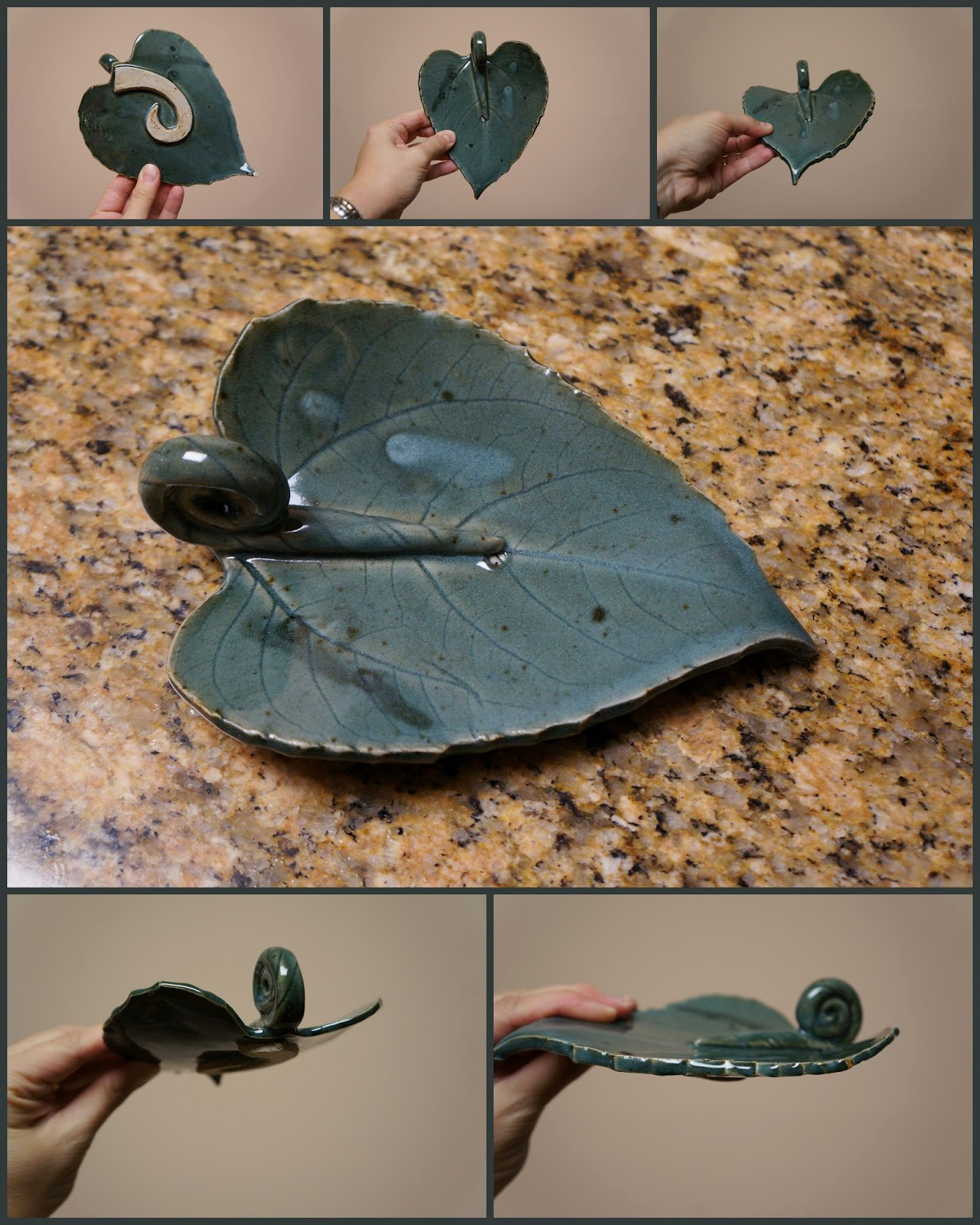 Unique handmade nature inspired stoneware ceramic pottery leaf dishes