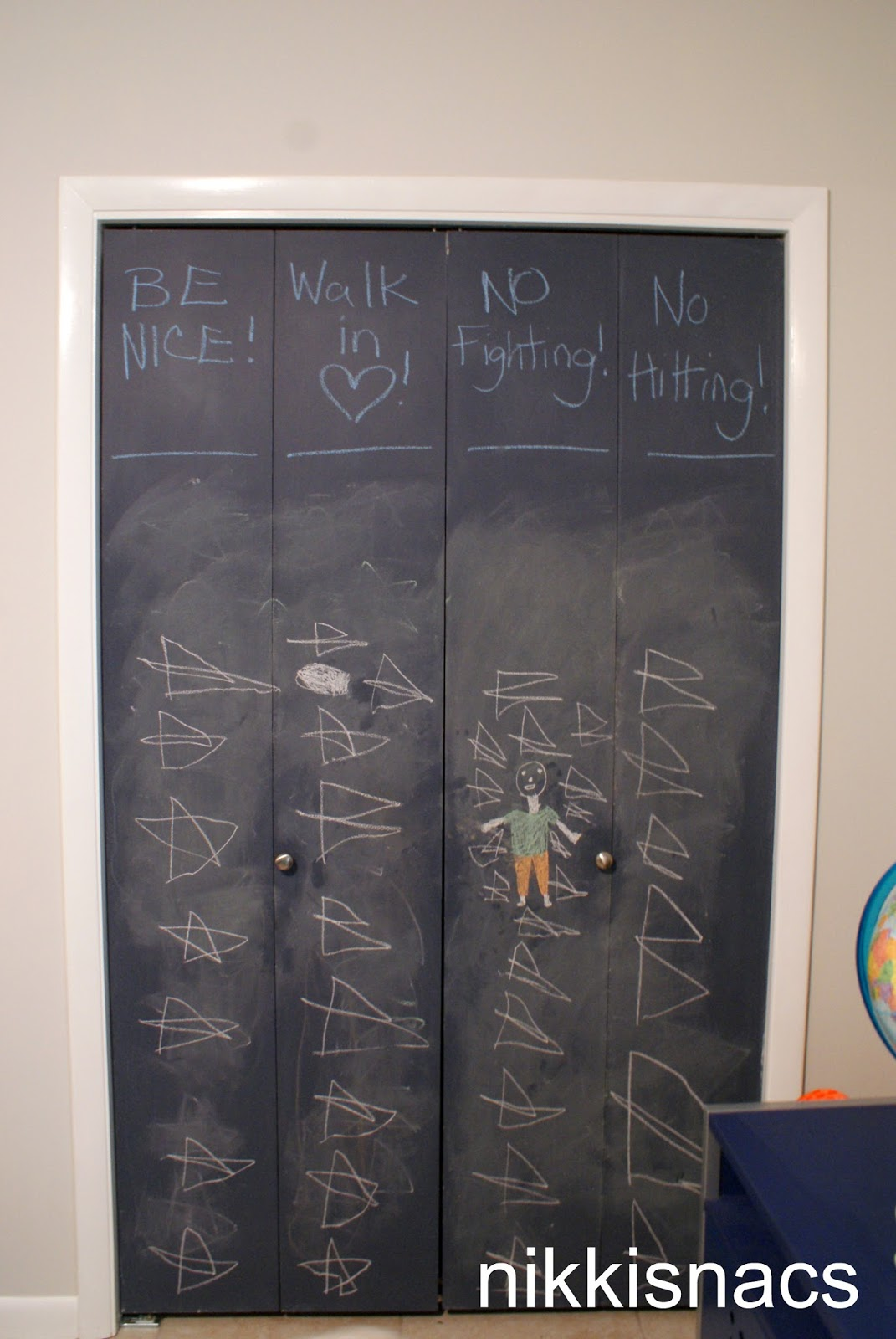 Nikkis Nacs A Simple Painted Project Chalkboard Closet Doors