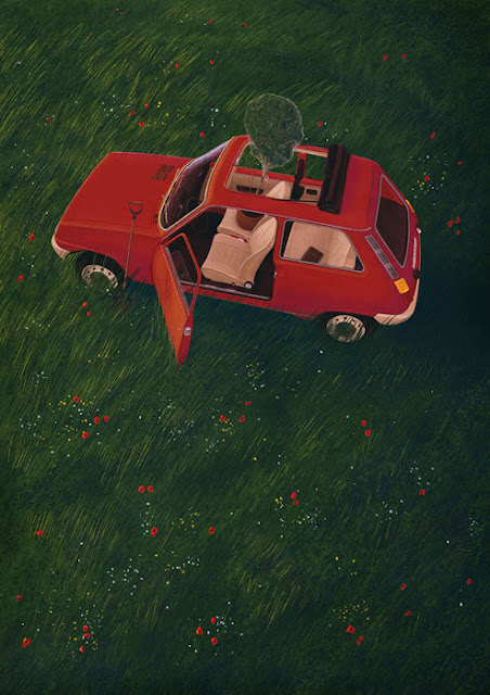 I'll Be Back In 20 Years: Image of a red 1970's Renault 5 in lush deep grass, door and sunroof open. Potted tree in passenger seat poking through the roof. Driver door open. Spade propped up against the front tyre.