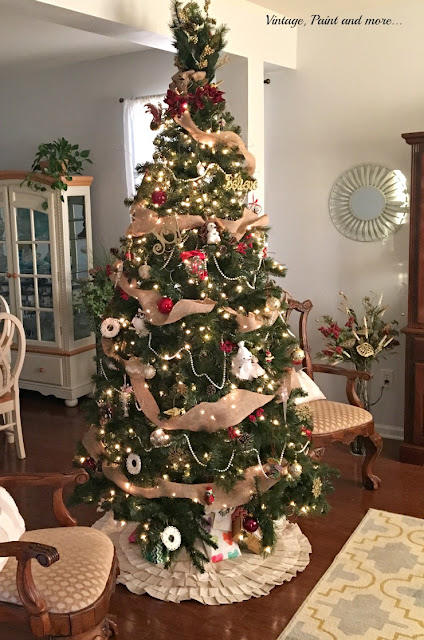 Decorated Christmas tree done with burlap , diy ornaments and dollar store picks