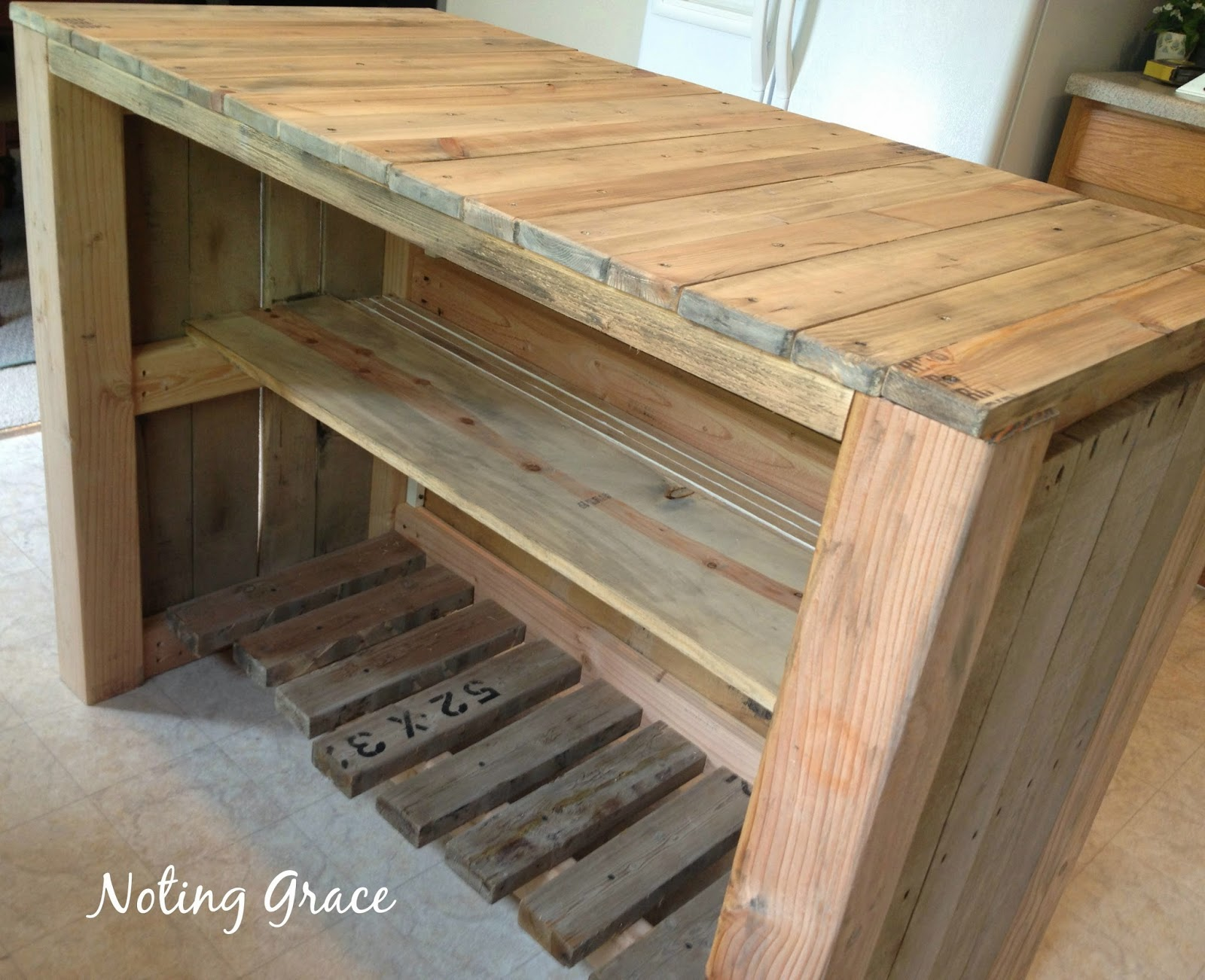 Noting Grace Diy Pallet Kitchen Island For Less Than 50
