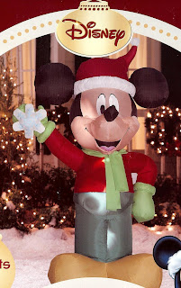 Disney 4' tall Mickey Mouse standing andholding Snowflake Christmas Airblown Inflatable