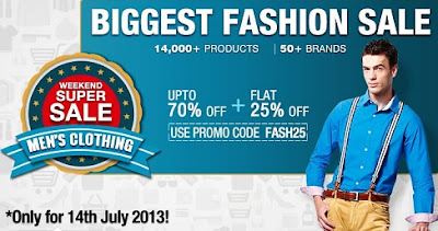Weekend Super Sale: Get Flat 25% Additional Discount on Men's Apparels (Offer Valid on 14th July'13 Only)
