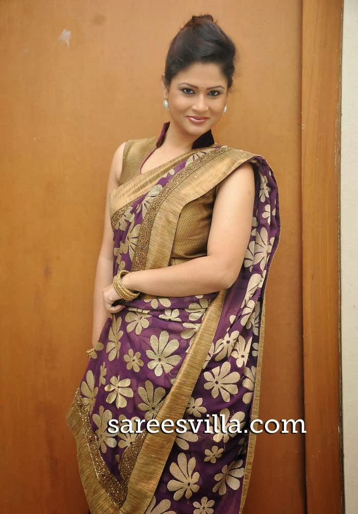Shilpa Chakravarthy In Purple Saree