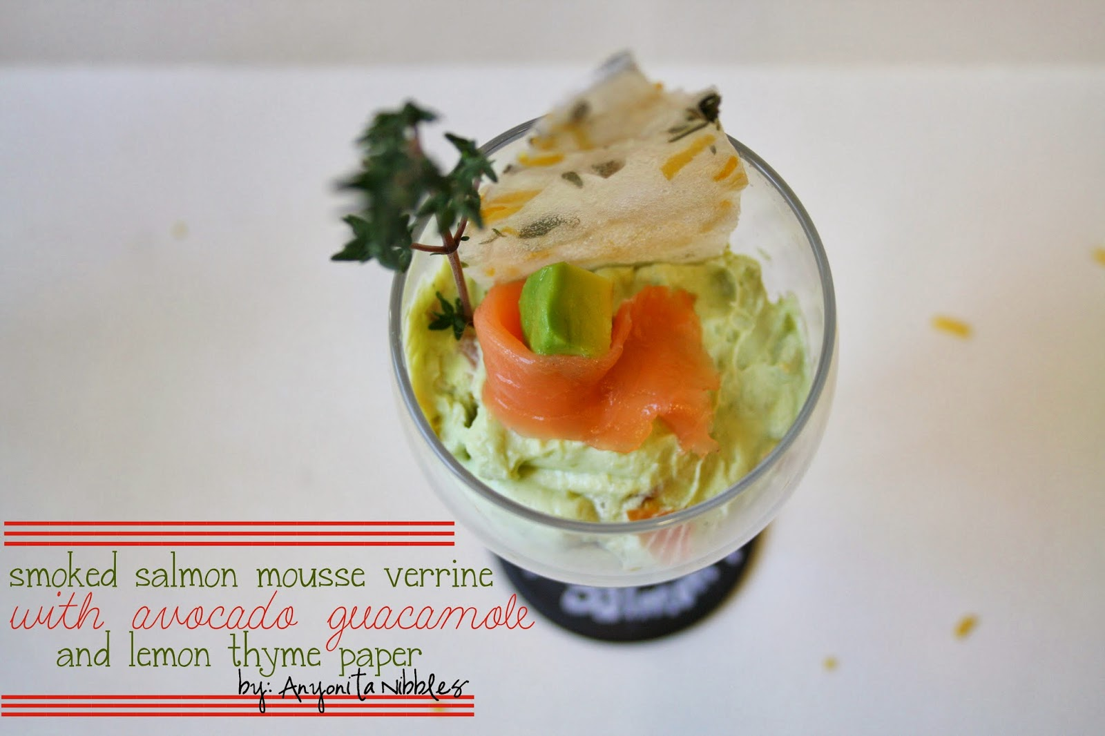 Smoked Salmon Mousse Verrine with Avocado Guacamole and Lemon Thyme Paper