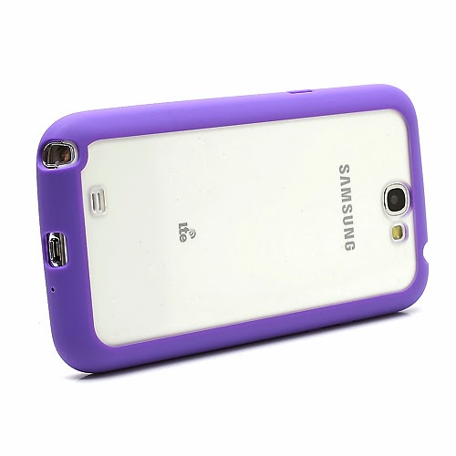 Hybrid Case : TPU Edges and Transparant Back Case Samsung Galaxy Note 2 / II N7100 - Purple