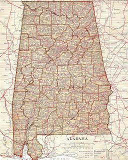 Vintage Map Image Alabama Digital Background