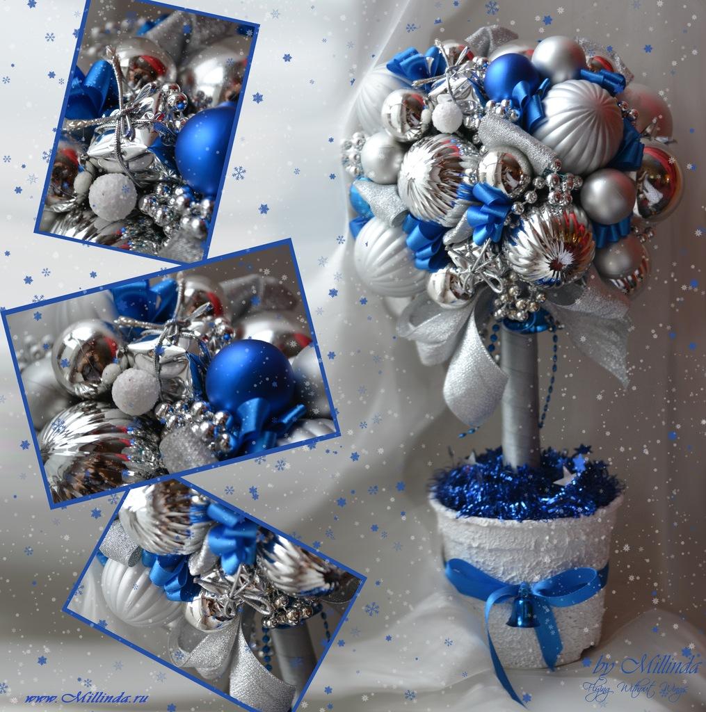 Топиарий новогодний из шаров своими руками