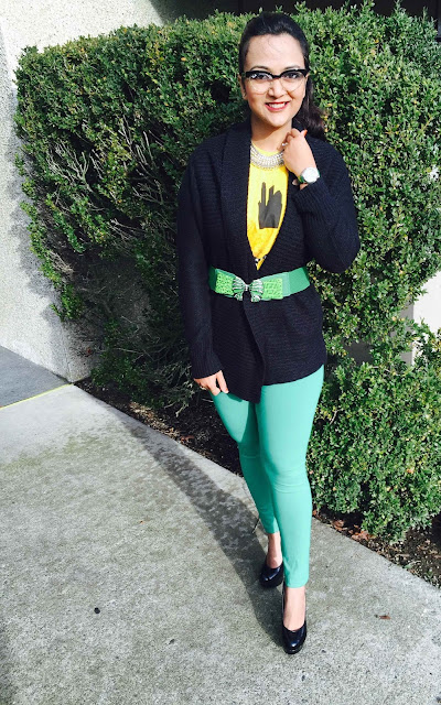 casual look with cardigan, black cardigan, black pumps with green leggings and black cardigan and statement necklace, ananya tales