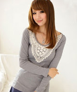 Baju Cewek Lycra Lengan Panjang warna Abu-abu / Grey