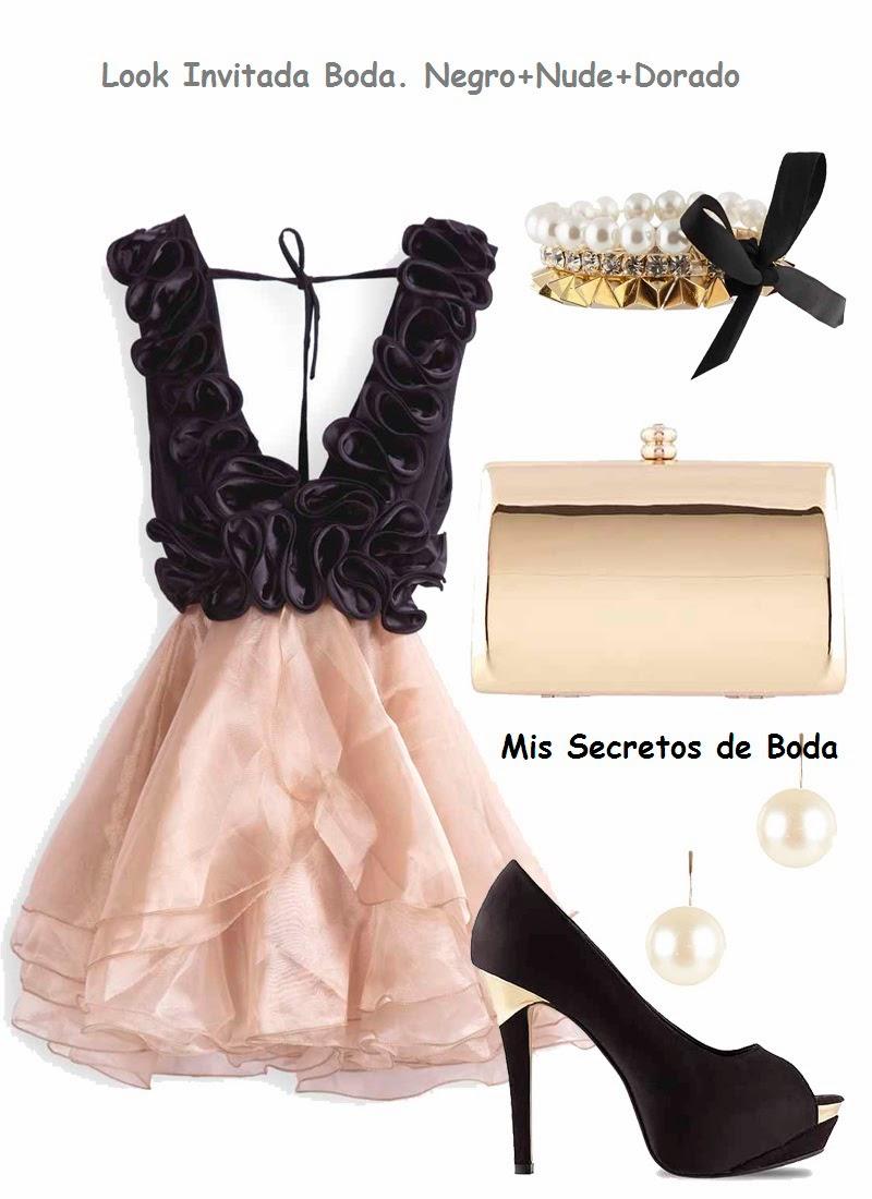 Look Invitada Boda. Vestido en Organza Nude y Negro.