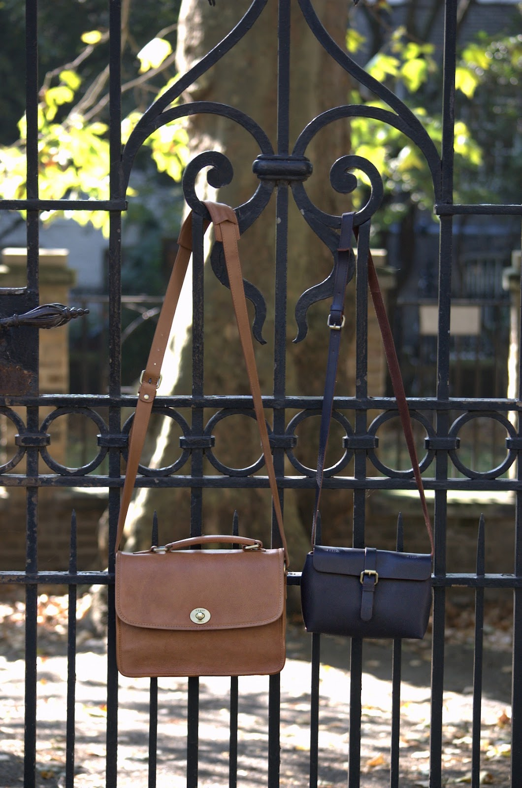 yoshi parsons bag in tan and jenner bag in navy