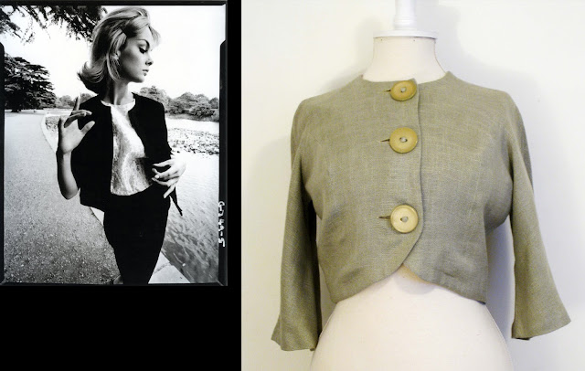 1960s jean shrimpton, two piece suit, cropped round neck jacket, 1960s jacket, 1960s bolero jacket