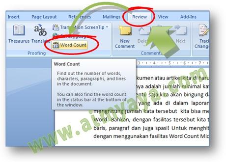 Gambar: Cara menampilkan / mengetahui jumlah kata, baris, paragraf  atau yang lainnya di Microsoft Word