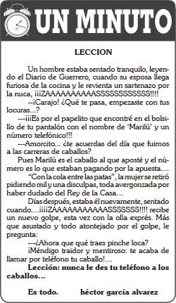 """UN MINUTO     """"LECCIÓN"""""""