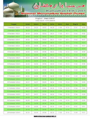 Jadwal Imsakiyah Kota Cirebon Tahun 2015 (1436 H)