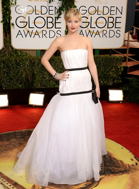 Jennifer Lawrence in Dior at Golden Globes