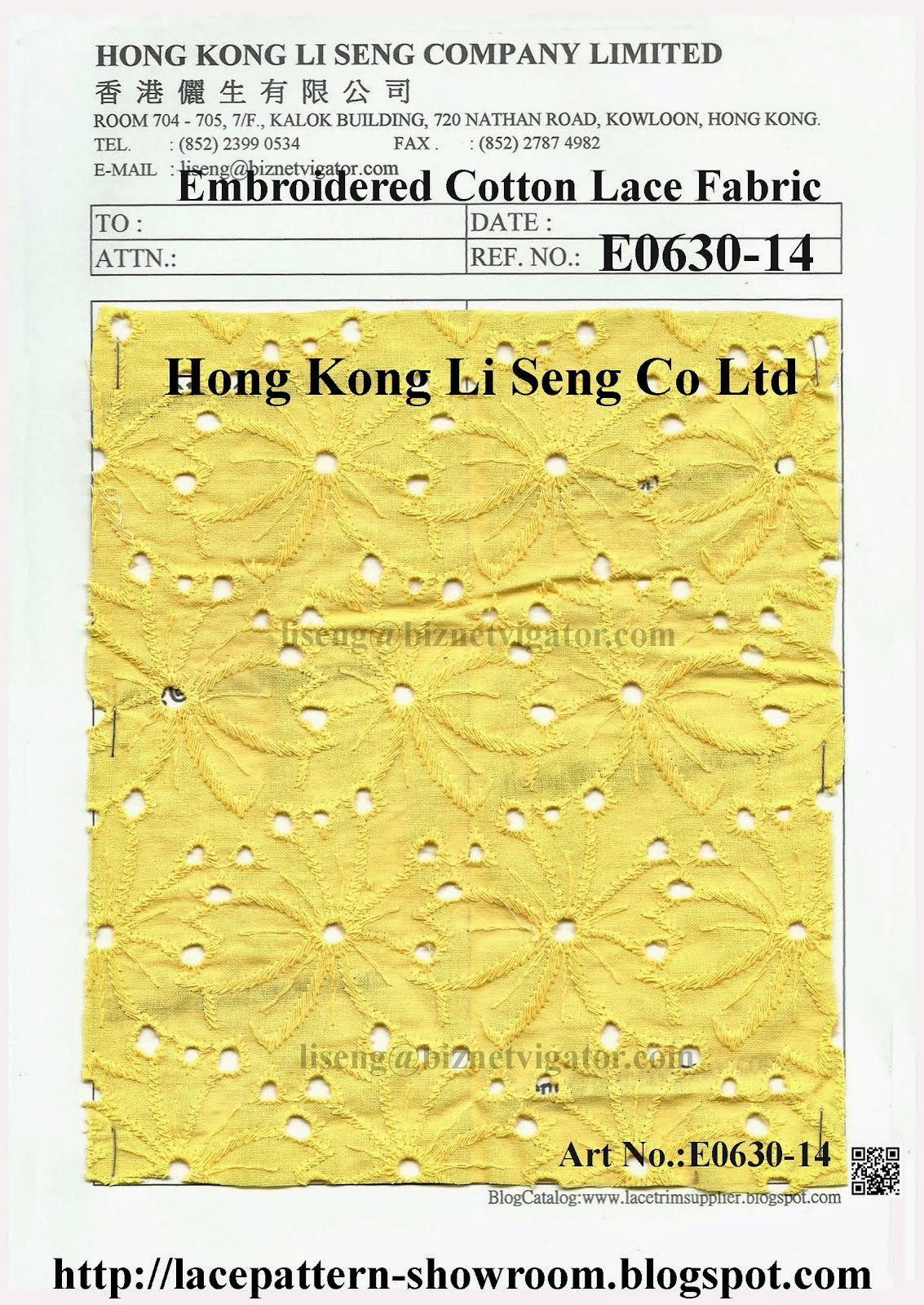 New Lace Pattern Embroidered Cotton Fabric Manufacturer - Hong Kong Li Seng Co Ltd