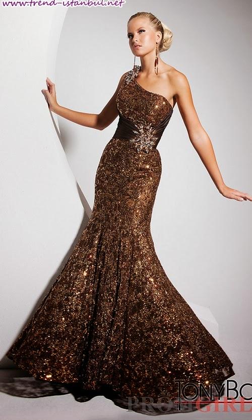 2014 kahve rengi elbise modelleri