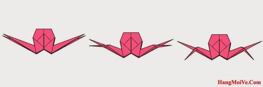 Bước 20: Bẻ 2 cạnh 2 bên đằng trước của con cua xuống dưới (hình 2) để tạo thành 2 chân trước của con cua như hình 3.