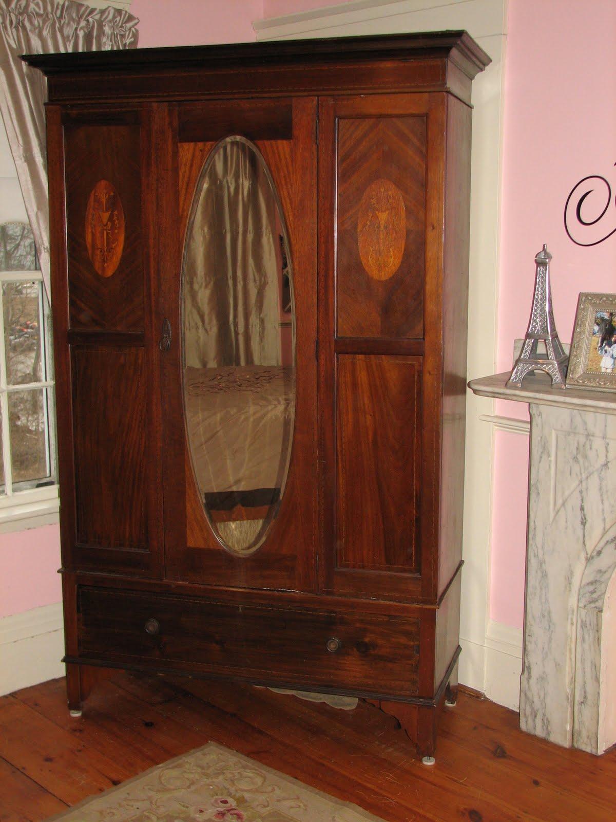 Antique Wardrobe Armoire W Mirror 500