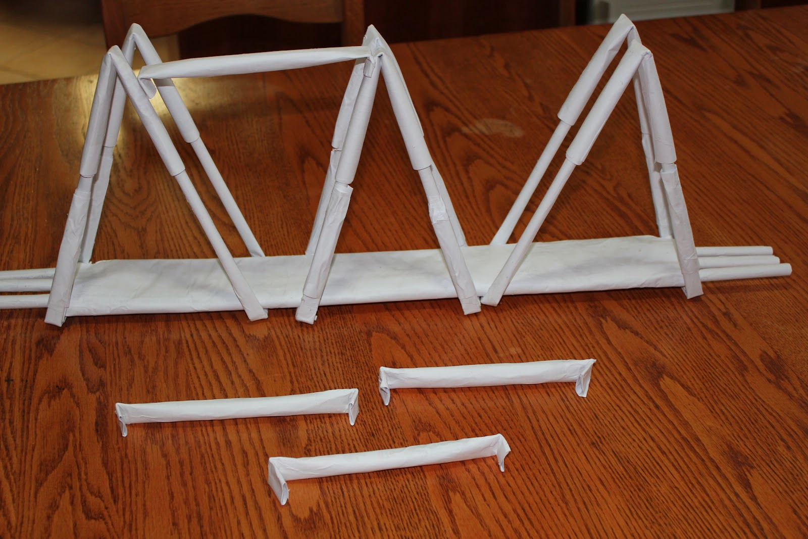 I Used Another Paper Tube And Folded Back The Ends Just Enough To Cross Span Between Trusses