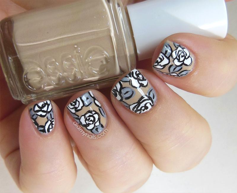 white rose nail art