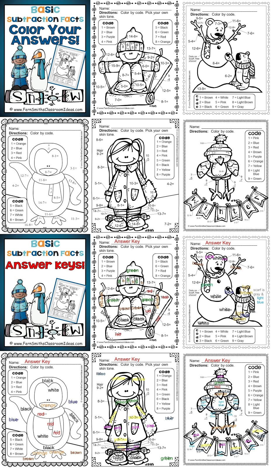 Fern Smith's Classroom Ideas Winter Fun! Basic Subtraction Facts - Color Your Answers Printables at TPT.