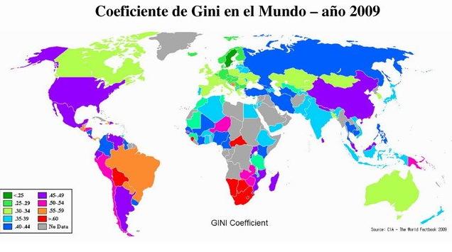 Mapa de la desigualdad según coeficiente de Gini